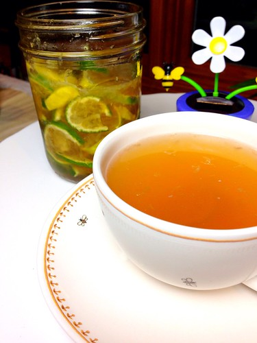 Hot tea with Honey Citrus Syrup