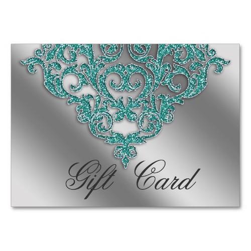 Damask Wedding Gift Registration Card Teal Blue Business Card Template