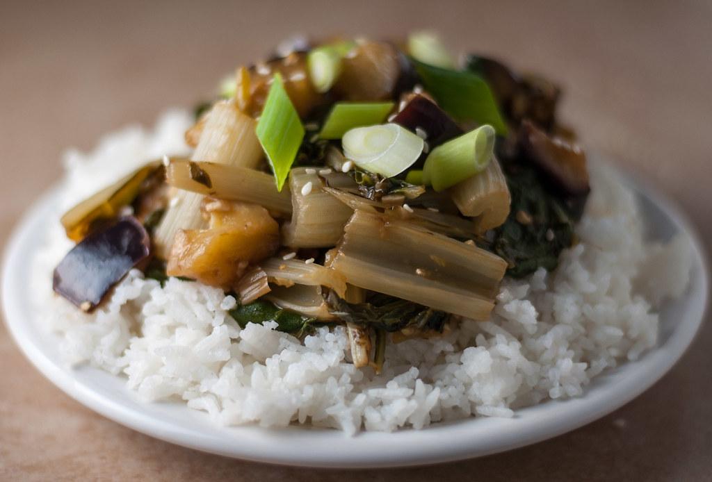 Eggplant chard stir fry closeup
