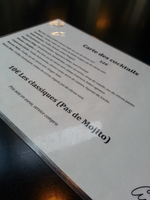 Le Fantome Bar Paris menu