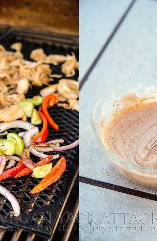 Beefy Jackfruit Tacos with grilled fajita veggies and seasoned sour cream sauce. Easy and perfect for summer! Vegan, gluten-free option