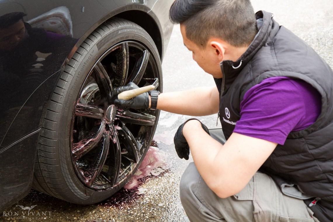 cleaning Aston Martin wheels