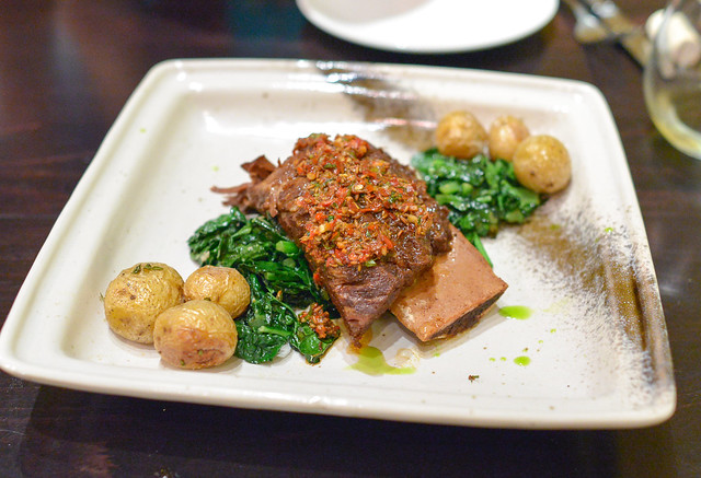 Bone-In Short Rib Hunan Braise & Spices, Dinosaur Kale, Olive Oil Poached Peewees