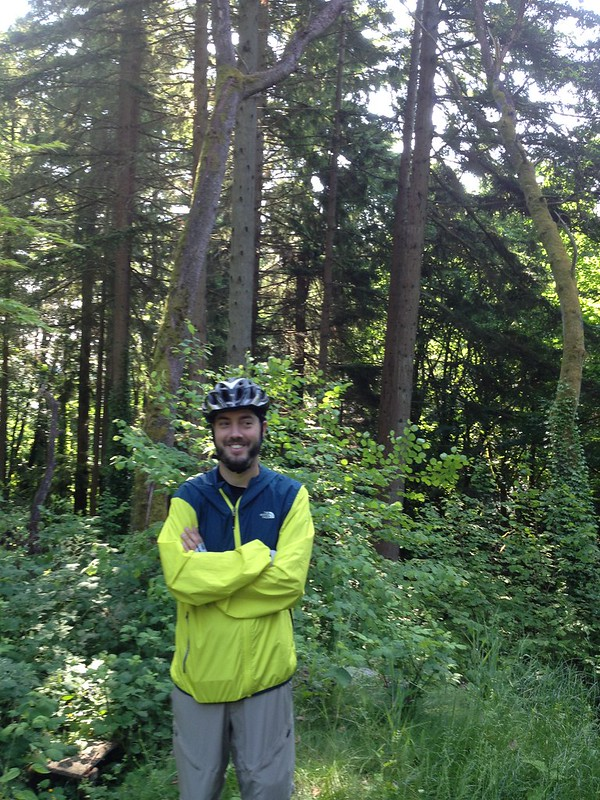 A cyclist in the woods