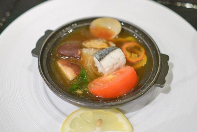mushimono clam, sea bass, shiitake, soy garlic