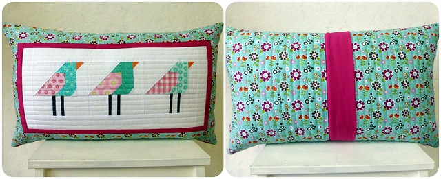 Paper pieced birdy cushion