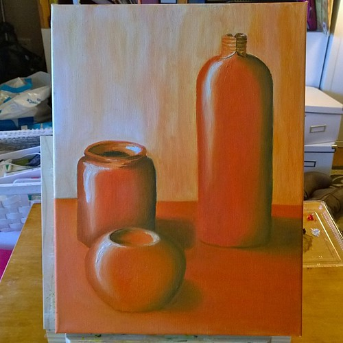 End of Back-to-Basics art class for me today. This is my version of the monochromatic painting for this term. Oil on canvas. Interesting to paint the same subjects in a different way. Will share other paintings from this term some time...