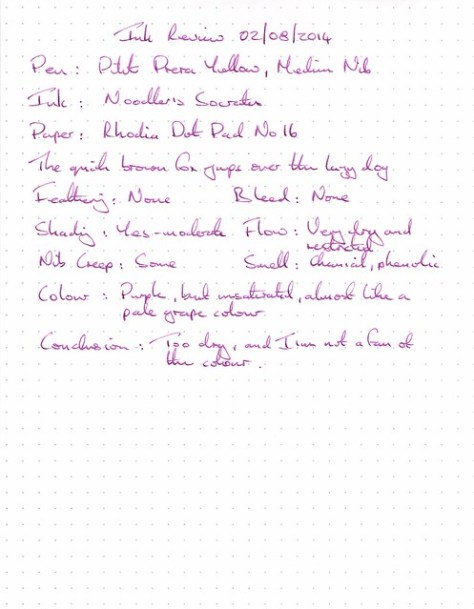 Noodler's Socrates - Ink Review - Rhodia Dot Pad