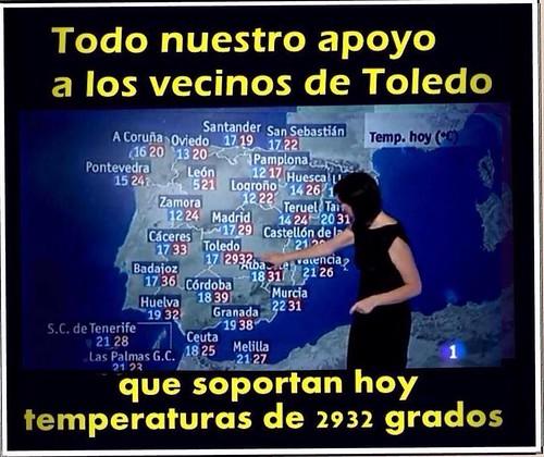 Gazapo en TVE sobre la temperatura de Toledo