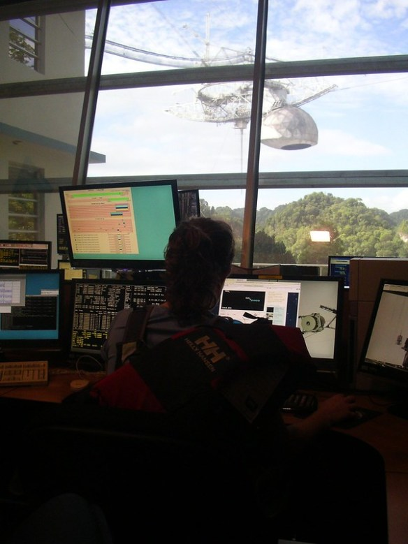 Alessondra Springmann viewing Arecibo Observatory from the telescope control room