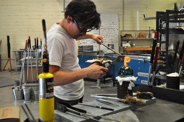 Seth Hendrick Adds the Finishing Touches of a Glass Ornament at Sunspots Studios, Staunton, Va., April 2014
