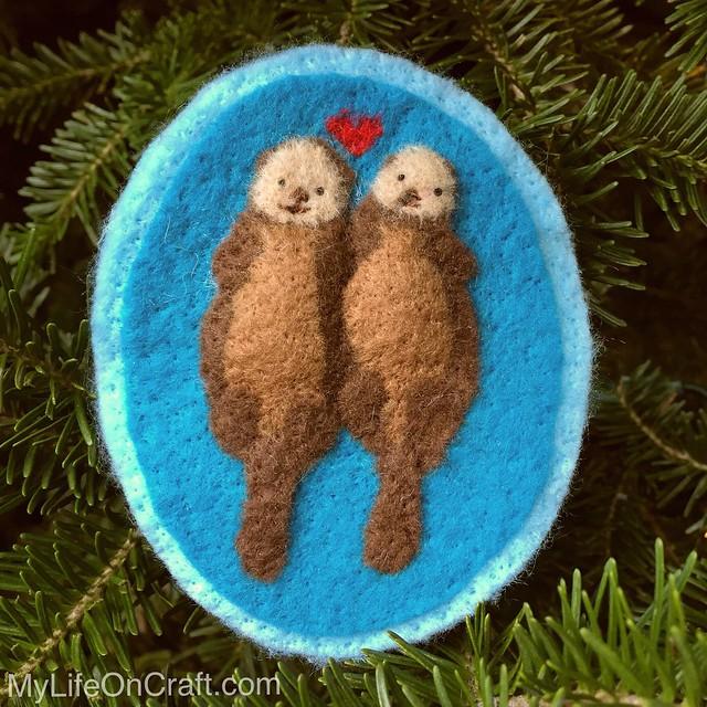 Felt Otters Ornament