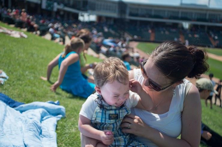 Micah and Mommy at Baseball game