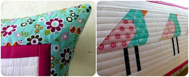 Paper pieced birdy cushion