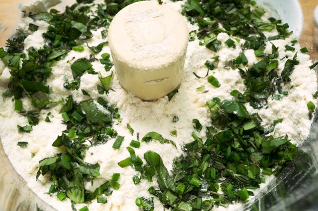 flour and herbs in food processor