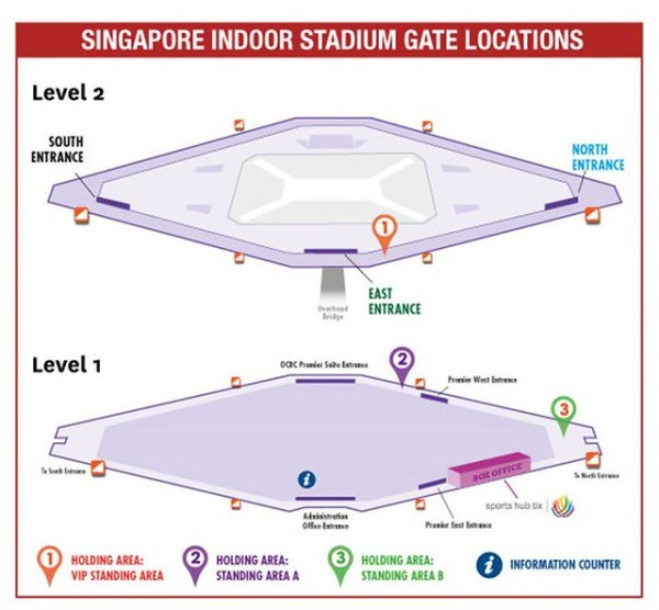 Singapore Indoor Stadium Gate Locations