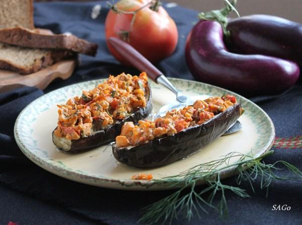рецепт с фото, запечённые баклажаны, куриный фарш с кус-кусом, блюдо в духовке, порционное блюдо, запечённые овощи