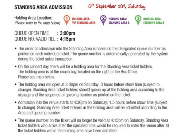 Standing Area Admission 13th September 2014