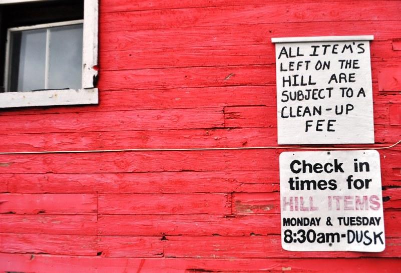 Signs at the Gentner Commission Market, Springville, N.Y., Aug. 13, 2014