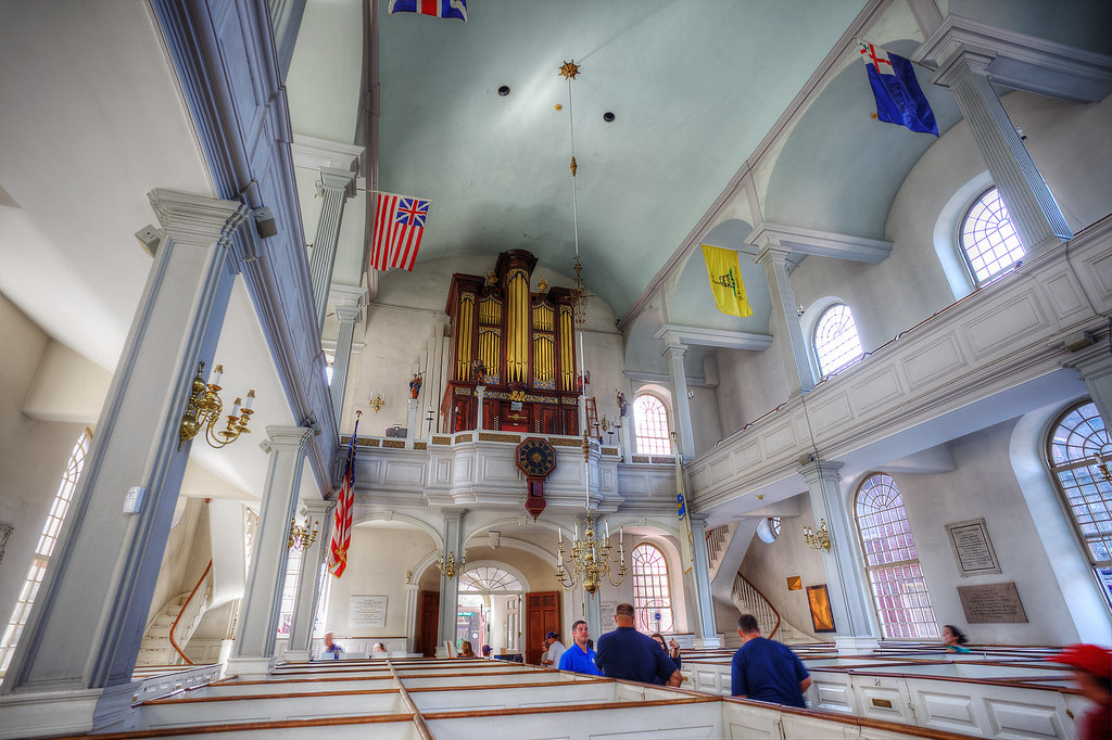 Inside the Old North Church looking towards the door and organ.
