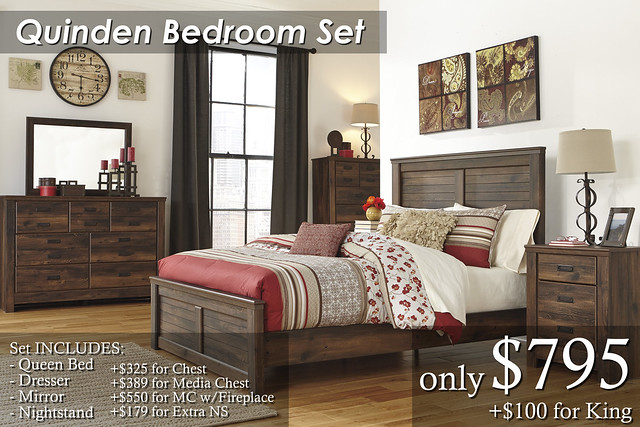 B246-Quinden Qn Set $795 KG Set $895 Chest $325 Extra NS $179 Media Chest $389 Media Chest With Fireplace $550