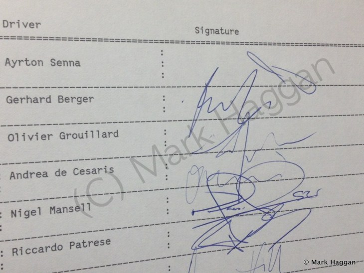 The original sign on sheet for the 1992 British Grand Prix