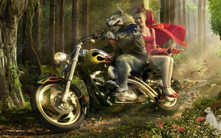 Caperucita Roja Y El Lobo - forest_digital_funny_little_red_riding_hood_motorbikes_red_hood_wolves_1280x800_wallpaper_Wallpaper_2560x1600_www.wallpaperswa.com (1)