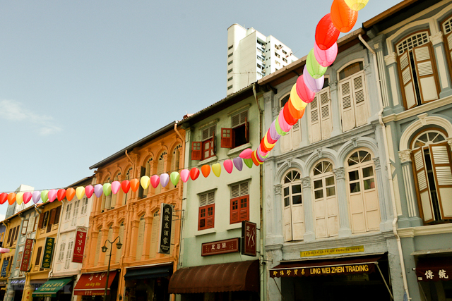 Brightly colored lanterns line up the streets of Singapore