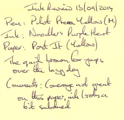 Noodler's Purple Heart - Post It - Ink Review