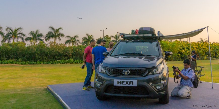 tata hexa with camping gear fully loaded