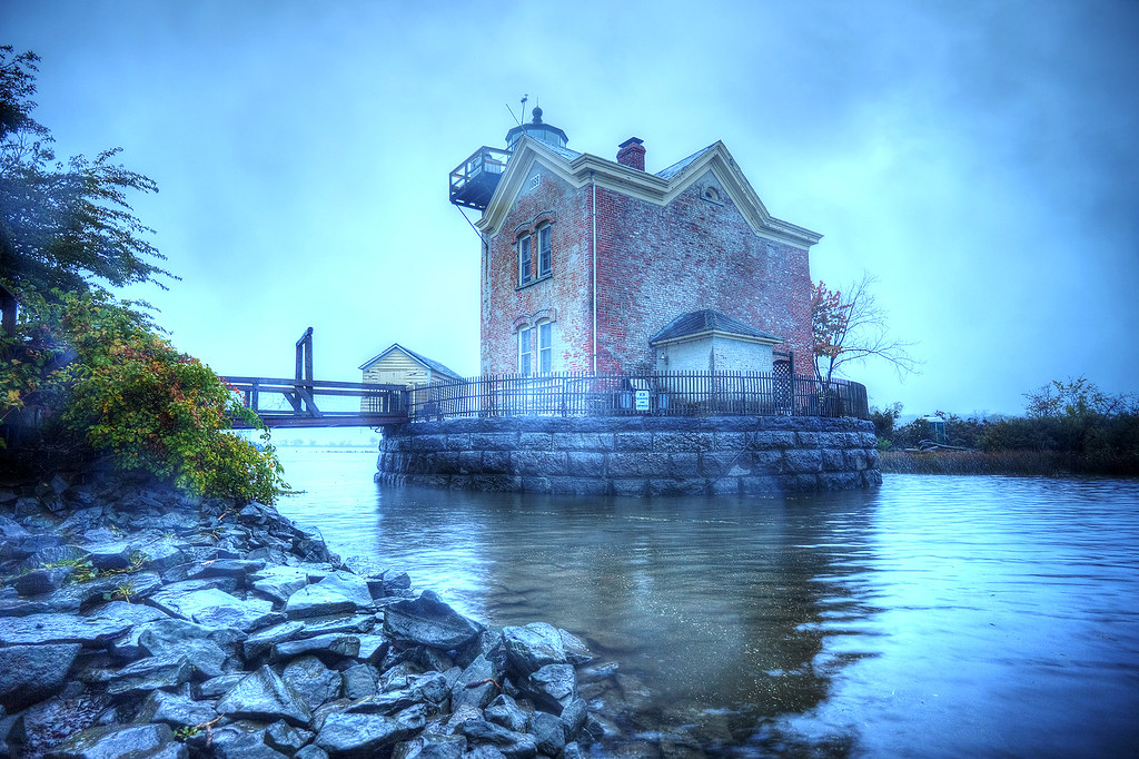 Saugerties Lighthouse from the shore of the adjoining island.