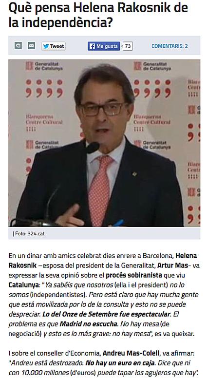14l06 La esposa de Artur Mas sobre independencia y estado finanzas cataluñas