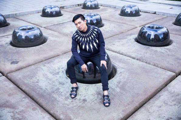 Bryanboy wearing a Neil Barrett black lightning bolt sweater