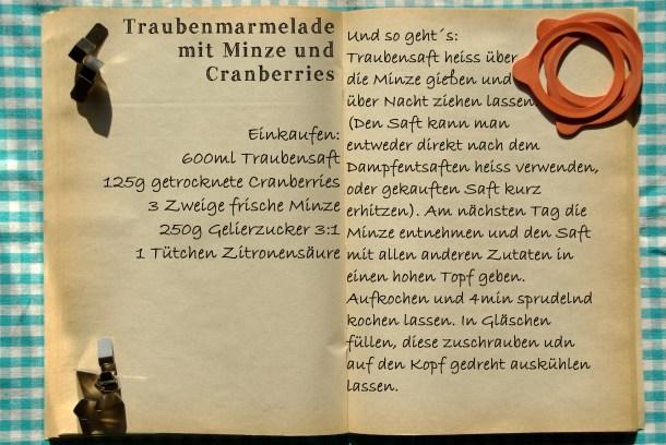 Einkaufszettel Trauben Minz Cranberry Marmelade by Glasgeflüster