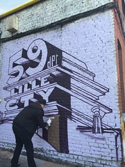 début de la mise en couleur du mur peint