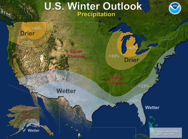NOAA US Winter 2014 Outlook Precipitation Map