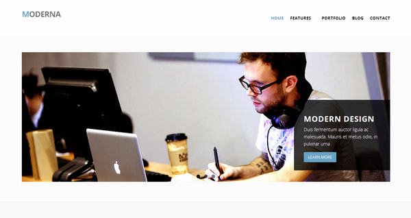 'Moderna' Bootstrap 3 WordPress theme for corporate business