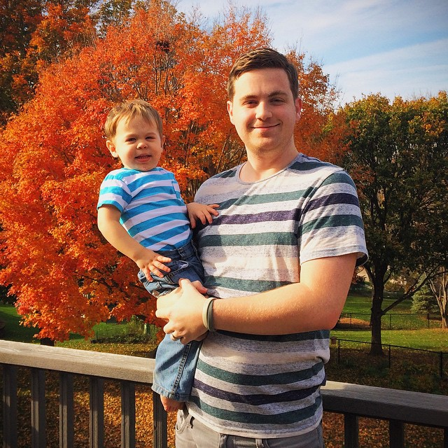 Hanging out at my mom's new house in Iowa. The weather was perfect today. Here's a rare shot of me and Micah.