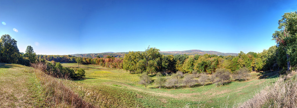 Panorama of the backyard of the Roosevelt Estate looking towards the Hudson River.