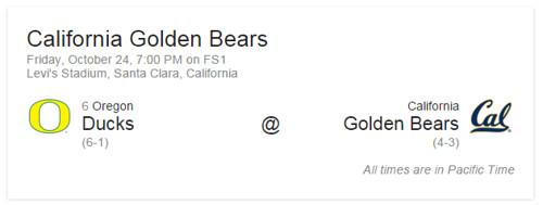 Oregon Ducks vs Cal Bears