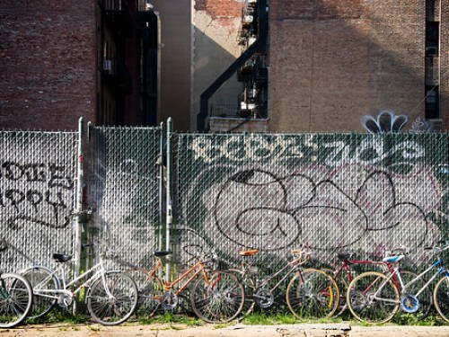 Bicycles on a Fence