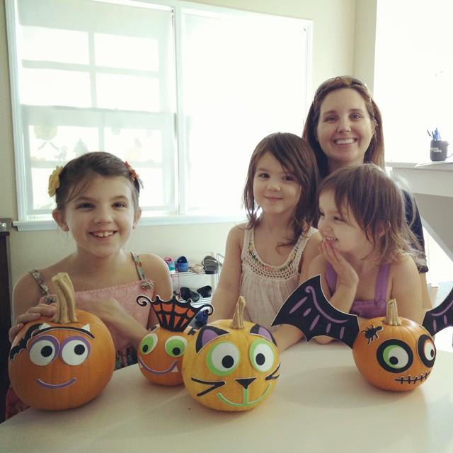 So much easier than carving pumpkins! The girls keep calling these their boo buddies. :-)  #homeschool