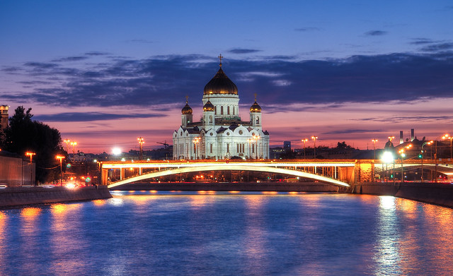 Cathedral of Christ the Saviour at dusk