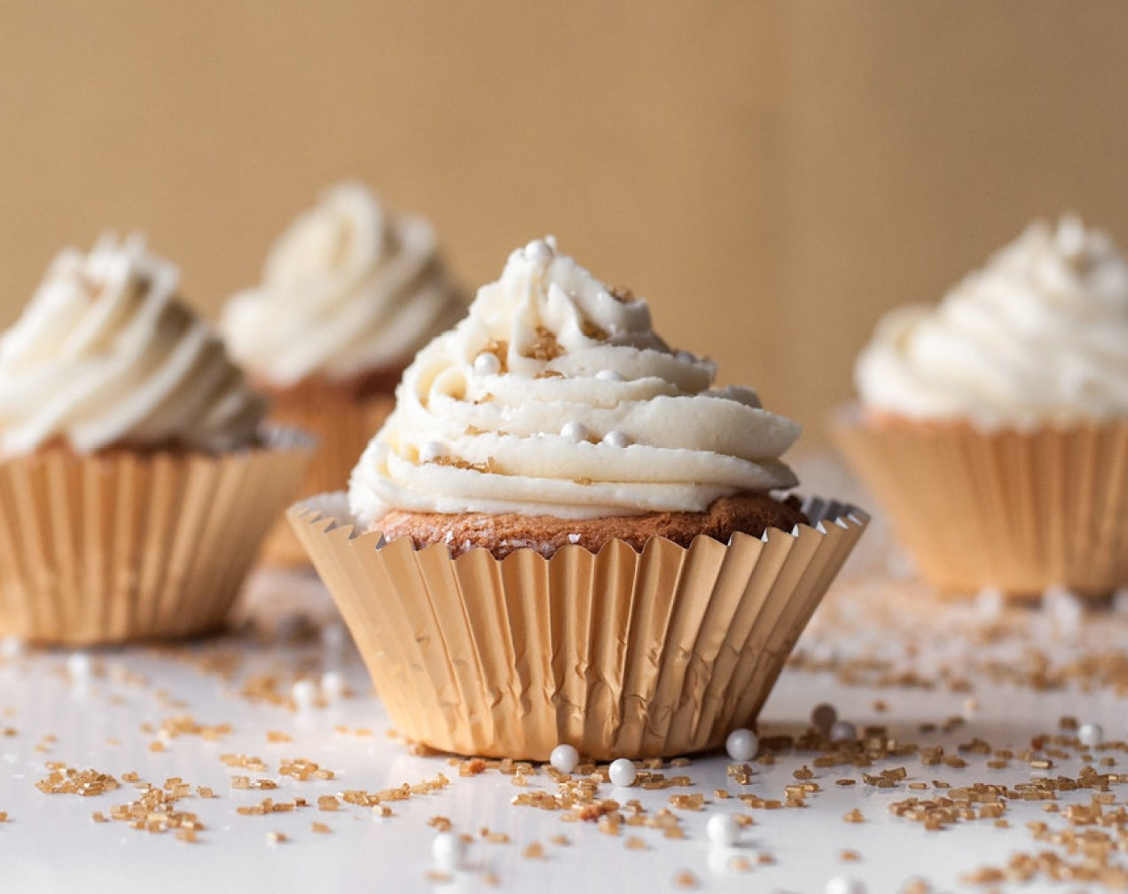 Angel Food Cupcakes with White Chocolate Buttercream