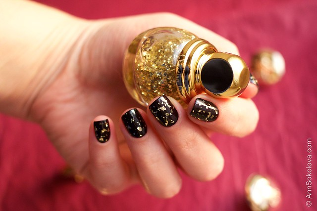 04 Dior Diorific Vernis #001 Golden Shock over #990 Smoky swatches