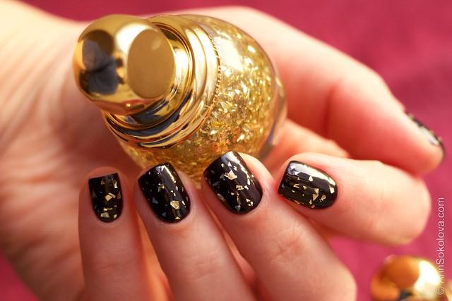 06 Dior Diorific Vernis #001 Golden Shock over #990 Smoky swatches