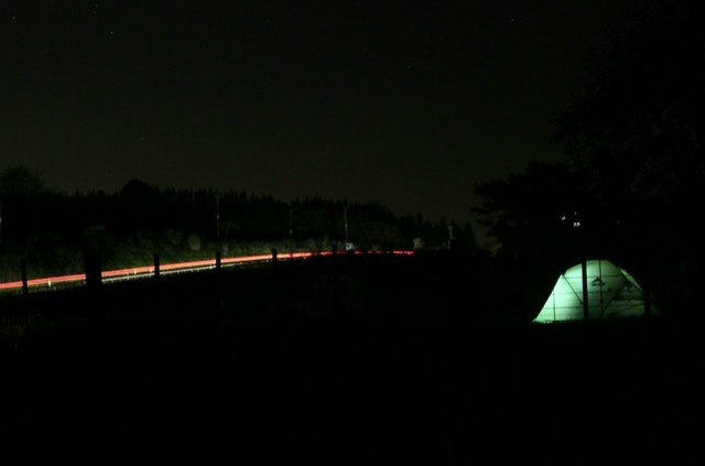 Camped near a road