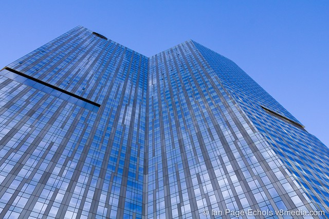 Tall building with sky reflection
