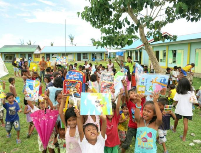 Books and Bags at Barrio San Agustin in Palo Leyte