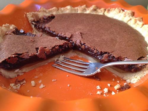 ooey gooey inside of chocolate chess pie